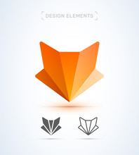 Fox Logo Template. Origami, Material Design, Flat And Line Art Style Icon Collection
