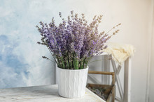 Pot With Blooming Lavender Flo...
