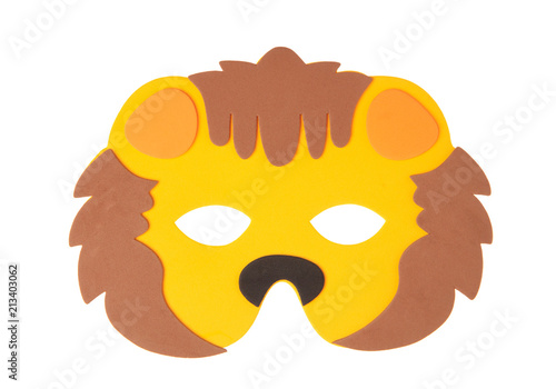 Fotografering  Lion animal carnival mask isolated on white background