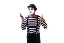 Mime With Telephone Isolated O...