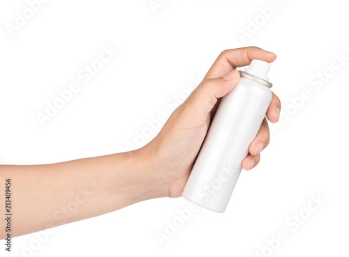 Photo hand of a girl applied a sunscreen spray isolated on white background
