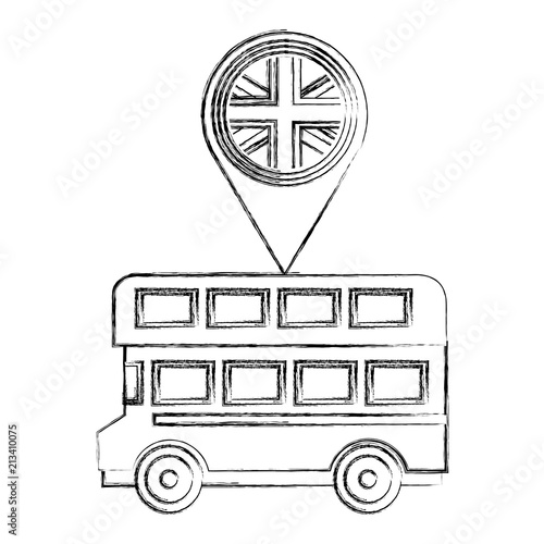 Photo  london double decker bus flag in pin map