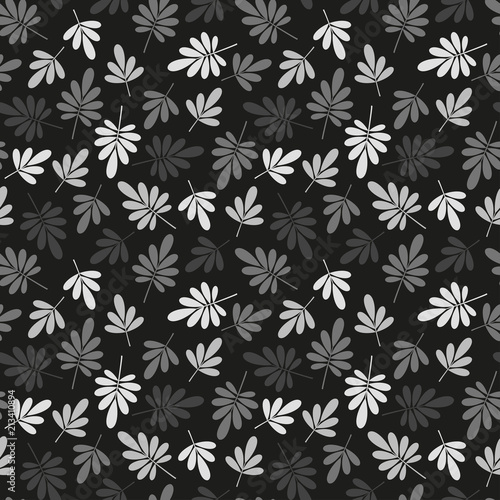 Foto op Aluminium Kunstmatig seamless graphically stylized grey natural leaves pattern texture element on dark background