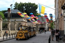 Colorful Umbrellas In Front Of...