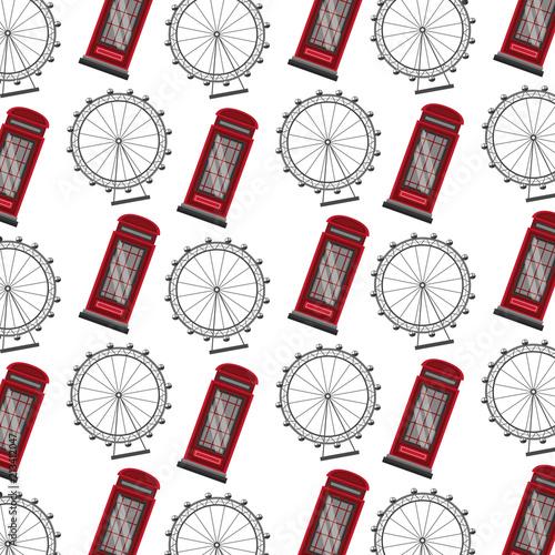 english telephone box and wheel london eye pattern Wallpaper Mural