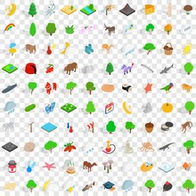 100 Pets Icons Set In Isometri...