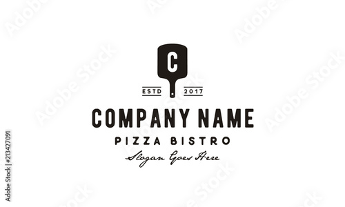 Tablou Canvas Vintage Retro Italian Pizza Pizzeria Spatula Logo design inspiration