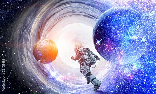 Running spaceman and galaxy. Mixed media - 213435686