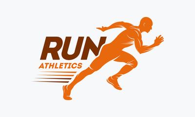 Logotip siluete trkača s završnom vrpcom, predloškom logotipa maratona, trkačkim klubom ili sportskim klubom