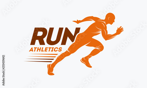 Fotografía Running Man silhouette Logo with Finish ribbon, Marathon logo template, running