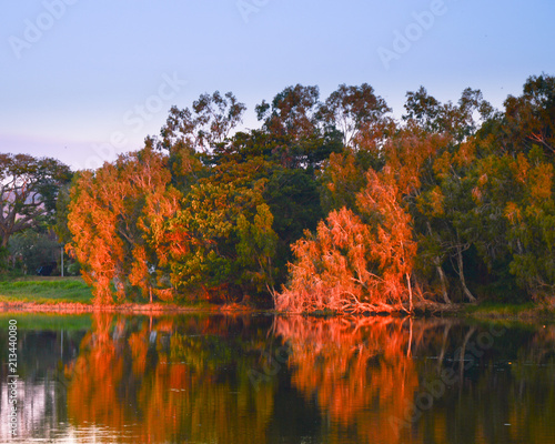 Canvas Prints Autumn Ross River Sunset