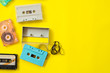 canvas print picture - vintage tape cassette recorder on yellow background, flat lay, top view. retro technology