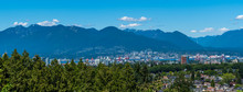 Wide Panorama Of Vancouver Seen From Above. Bright And Sunny Day.