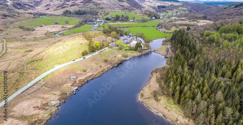 Printed kitchen splashbacks Air photo Aerial view of Llynnau Mymbyr are two lakes located in Dyffryn Mymbyr, a valley running from the village of Capel Curig to Pen-y-Gwryd in Snowdonia, north-west Wales