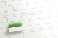 Green Tall Grass Protruding From A Flower Pot In The Shape Of A Brick Extended From A Brick Grey Wall. 3d Illustration