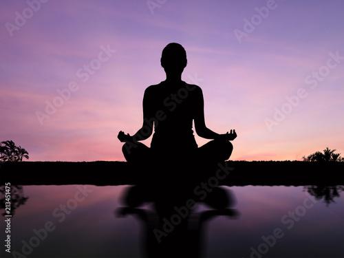 Obraz Silhouette woman meditate . - fototapety do salonu