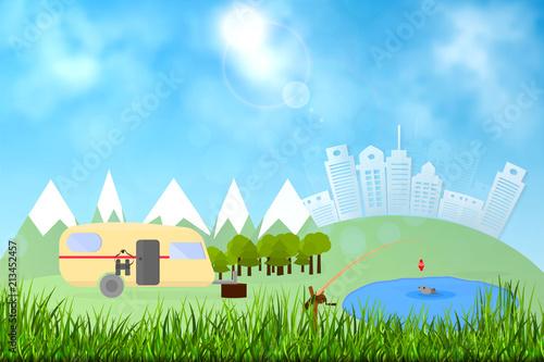 Printed kitchen splashbacks Light blue Background for summer camp, nature tourism, camping design concept. Vector