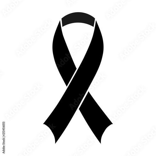 Stock vector illustration black awareness ribbon on white background Canvas