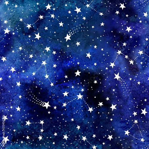 Deurstickers Kunstmatig Seamless watercolor space pattern with constellations and stars