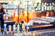 Aperol spritz drink on bar counter in pub or restaurant