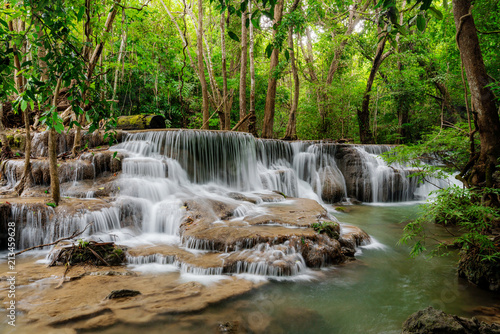 Beautiful waterfall in tropical rainforest at Kanchanaburi province, Thailand
