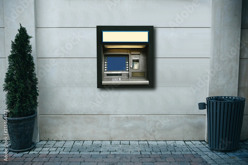 Obraz na plátne Modern street ATM machine for withdrawal of money and other financial transactio