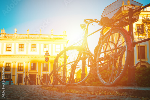 bicycle parked in an old European city
