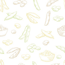 Soybean Graphic Color Sketch Seamless Pattern Background Illustration Vector