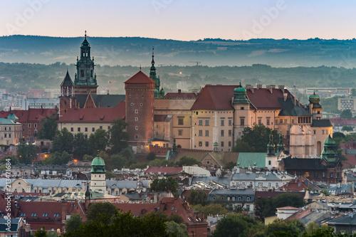 Krakow panorama from Krakus Mound, Wawel castle in the evening