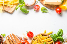 Italian Food Background On Whi...