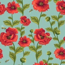 Seamless Pattern With Poppies ...