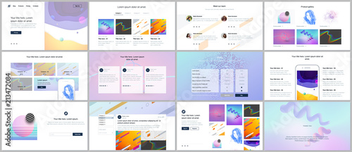 Fototapeta Vector templates for website design, minimal presentations, portfolio with geometric colorful patterns, gradients, fluid shapes. UI, UX, GUI. Design of headers, dashboard, features page, blog etc. obraz