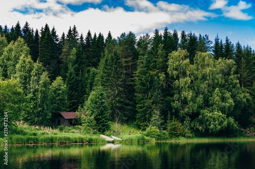 Tuinposter Meer / Vijver Summer cottage or log cabin by the blue lake in rural Finland.