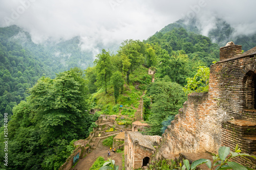 Fotobehang Midden Oosten Rudkhan Castle architecture in Iran. Rudkhan Castle is a brick and stone medieval castle, located 25 km southwest of Fuman city north of Iran in Gilan province.