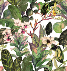 Panel Szklany Do salonu Seamless pattern with tropical leaves and flowers. watercolor pattern with a magnolia flower, orchids, cactus, white orchid phalinopsis. Botanical background