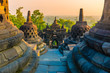 Awesome sunrise at Buddhist temple complex Borobudur, Yogyakarta, Jawa in Indonesia