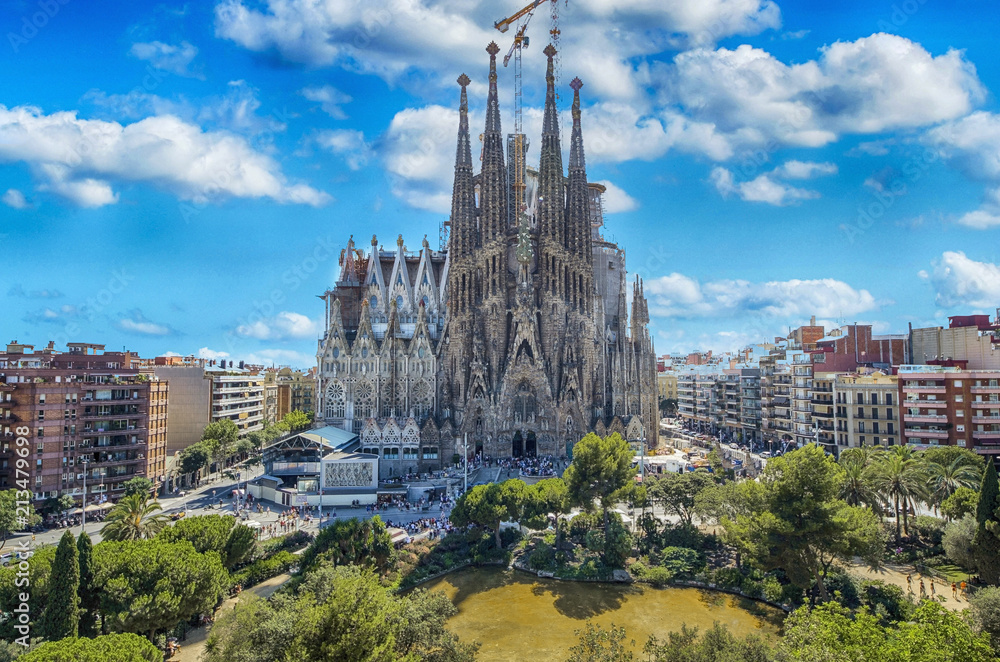 BARCELONA, SPAIN - SEPTEMBER 15,2015 : Sagrada Familia in Barcelona. Sagrada