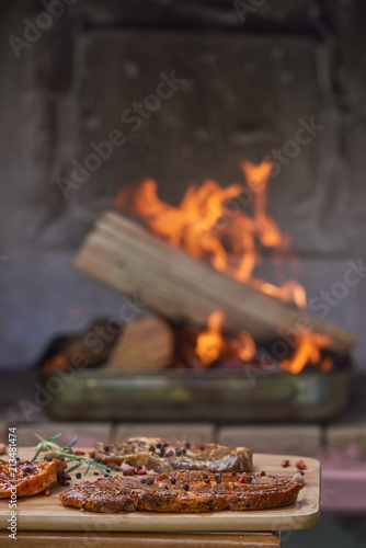 Fire burning for grilled meat