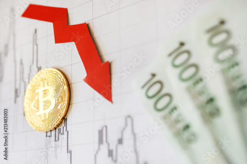 Depreciation of virtual money bitcoin  Red arrow and on hundred euro