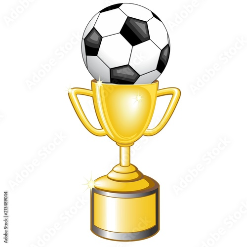 Staande foto Draw Soccer Football Winners Golden Cup