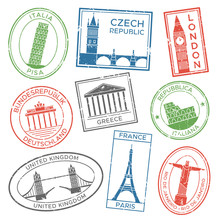 Vintage Travel Stamps For Post...