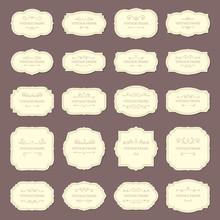Vintage Frame Labels. Rectangle And Oval Wedding Frames. Antique Label With Border Vector Set