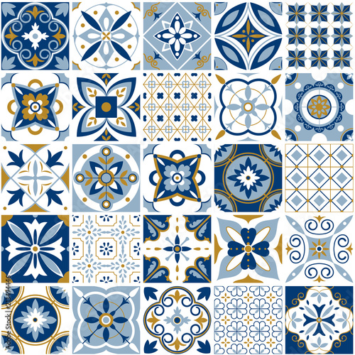 Tapety do Garderoby  moroccan-pattern-decor-tile-texture-with-blue-ornament-traditional-arabic-and-indian-pottery-tiling-seamless-patterns-vector-set