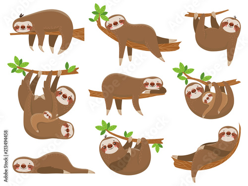 Cartoon sloths family Wallpaper Mural