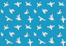 Seagulls Seamless Pattern. Car...