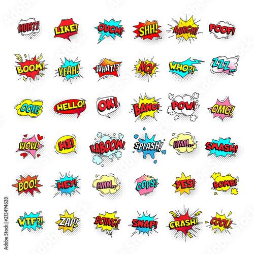 comic bubbles cartoon text balloons pow and zap smash and boom