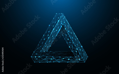 Fotografia Penrose triangle form lines, triangles and particle style design
