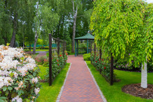 The Park Alley Along The Fence With Red Roses Leading To A Decorative Gazebo With A Green Roof