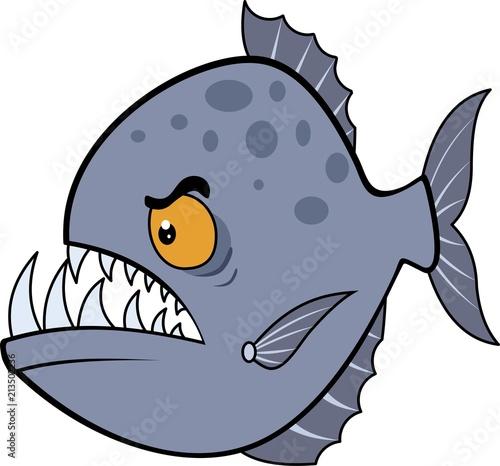 Fotografie, Obraz  Hungry piranha. Raster illustration eps.