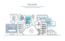Data Center. Cloud Storage, Secure Data Storage, Web Hosting Server.